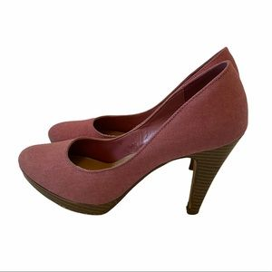 FIONI Pink Fabric Almond Toe High Heel Shoes 6
